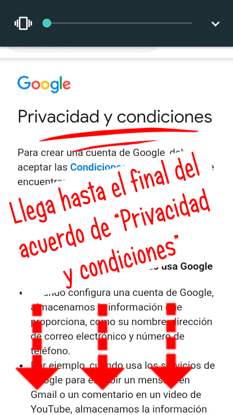 acuerdo de privacidad y condiciones de Google