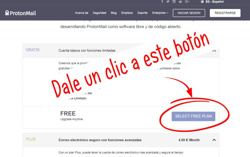 boton para registrarse en un plan gratuito de protonmail