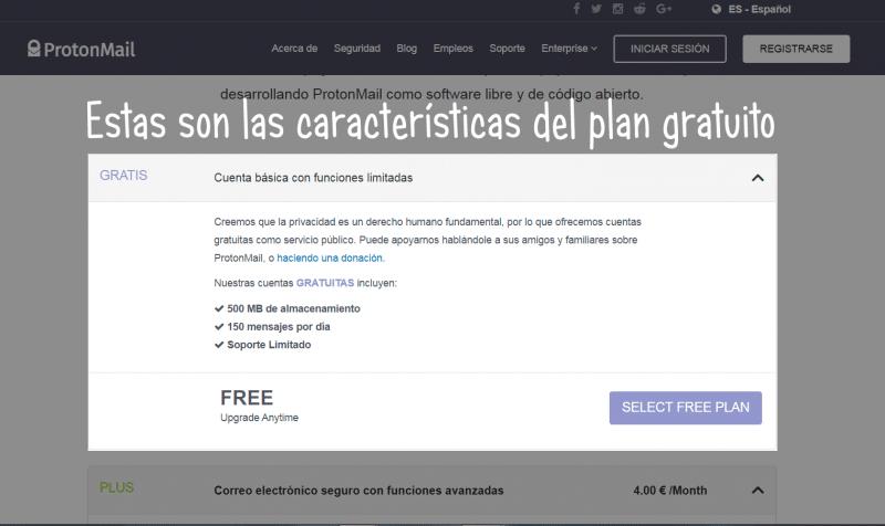 características del plan gratuito de protonmail