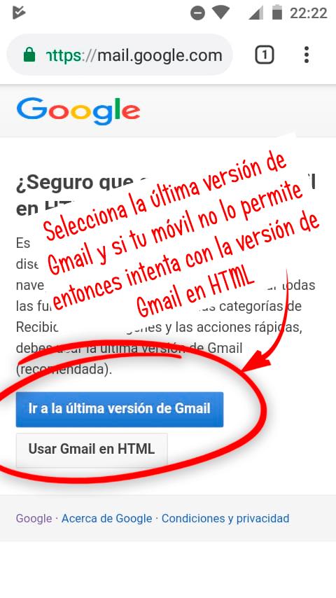 seleccionar la versión de gmail que quieres usar