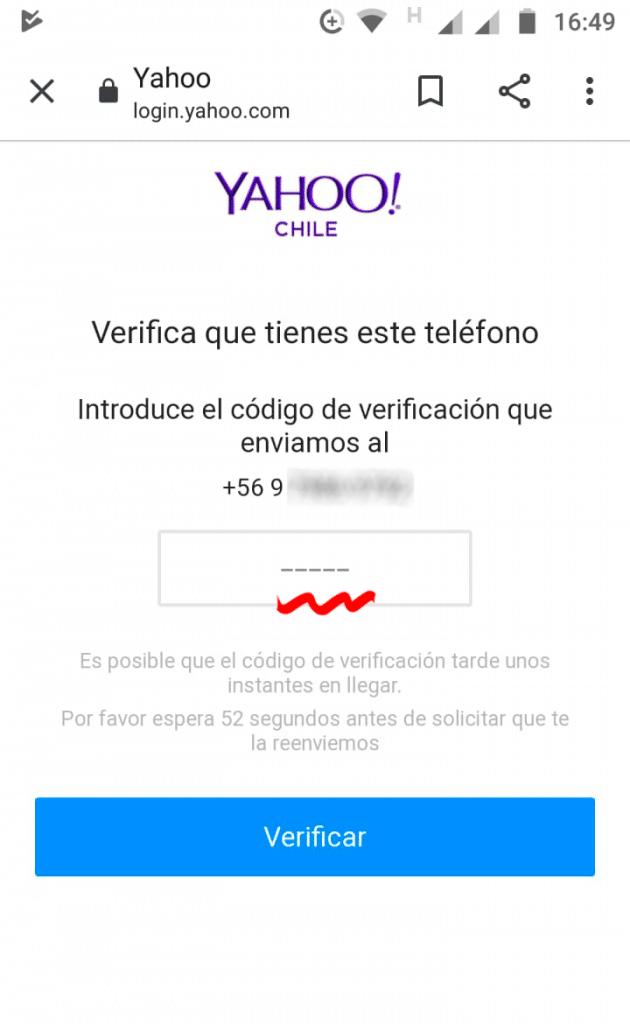 registrar cuenta en de correo en Yahoo código de verificación