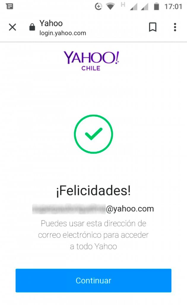 registro éxito en correo Yahoo